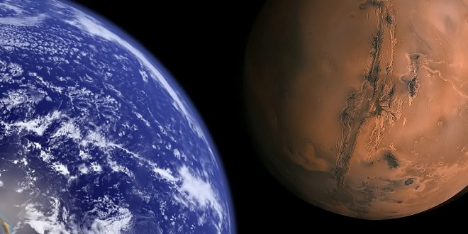 """Earth and Mars to scale."" by Bluedharma is licensed under CC BY-ND 2.0"