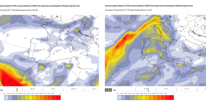 ECMWF/CAMS Forecasts of Aerosol Optical Depth for Sunday 23/02 at 1800 UTC (forecast based Sunday 23/02 at 0000 UTC) and for Friday 28/02 at 1500 UTC (forecast based Thursday 27/02 at 0000 UTC)